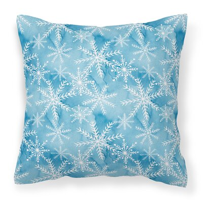 Watercolor Snowflake Square Outdoor Throw Pillow Color: Blue