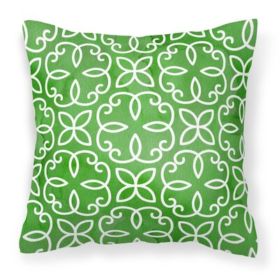 Carey Geometric Cirlce on Green Outdoor Throw Pillow