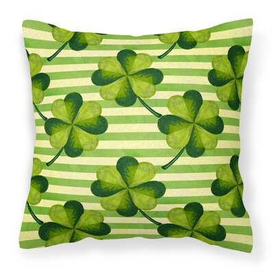 Watercolor Shamrock Stripes Outdoor Throw Pillow