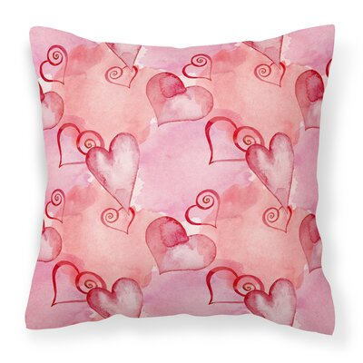 East Milton Hot Hearts Outdoor Throw Pillow Color: Red