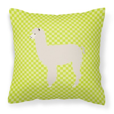 Alpaca Check Outdoor Throw Pillow Color: Green