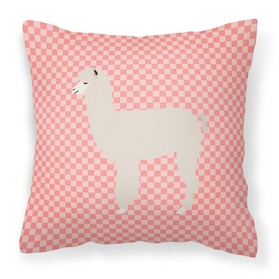 Alpaca Check Outdoor Throw Pillow Color: Pink