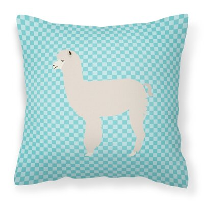 Alpaca Check Outdoor Throw Pillow Color: Blue
