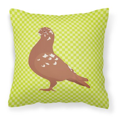 Owl Pigeon Check Outdoor Throw Pillow Color: Green