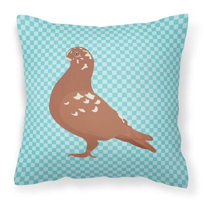Owl Pigeon Check Outdoor Throw Pillow Color: Blue