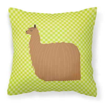 Alpaca Suri Check Outdoor Throw Pillow Color: Green