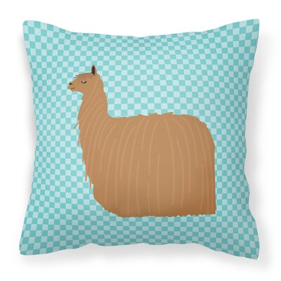 Alpaca Suri Check Outdoor Throw Pillow Color: Blue