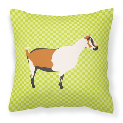 Goat Check Square Outdoor Throw Pillow Color: Green