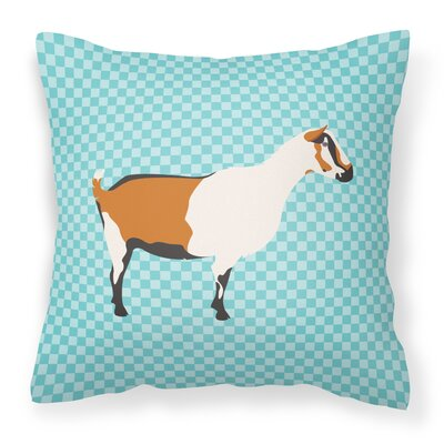 Goat Check Square Outdoor Throw Pillow Color: Blue