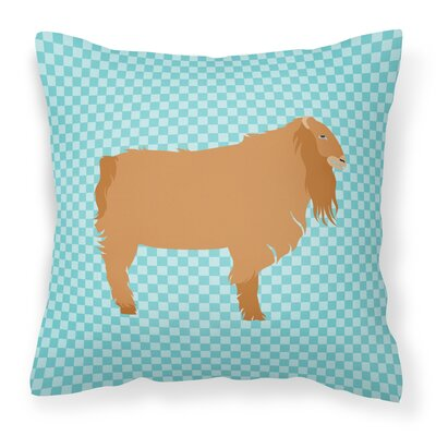 American Lamancha Goat Outdoor Throw Pillow Color: Blue