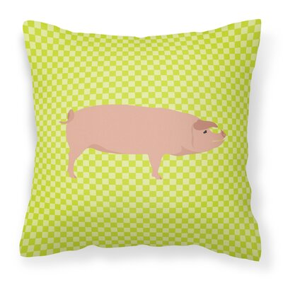American Landrace Pig Check Outdoor Throw Pillow Color: Green