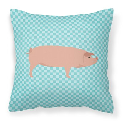 American Landrace Pig Check Outdoor Throw Pillow Color: Blue