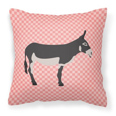 Mammoth Jack Donkey Check Outdoor Throw Pillow Color: Pink