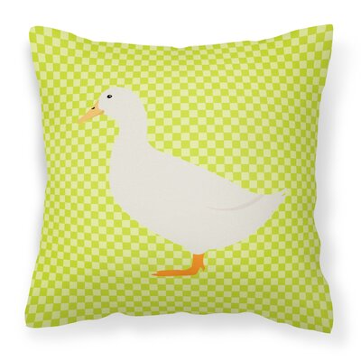Pekin Duck Check Outdoor Throw Pillow Color: Green