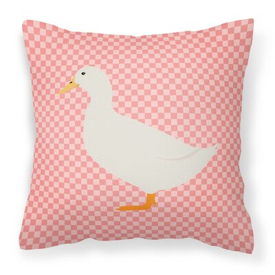 Pekin Duck Check Outdoor Throw Pillow Color: Pink