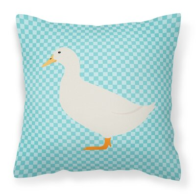 Pekin Duck Check Outdoor Throw Pillow Color: Blue