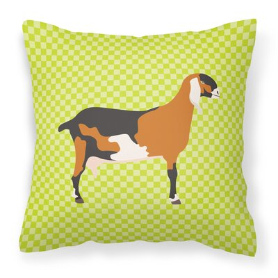 Nubian Goat Check Outdoor Throw Pillow Color: Green
