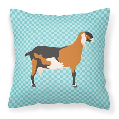 Nubian Goat Check Outdoor Throw Pillow Color: Blue
