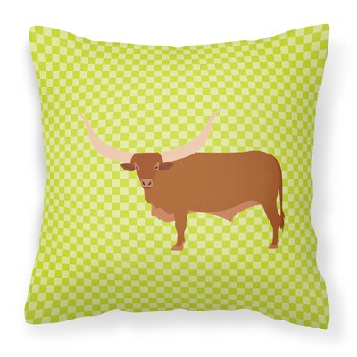 Ankole Watusu Cow Check Outdoor Throw Pillow Color: Green