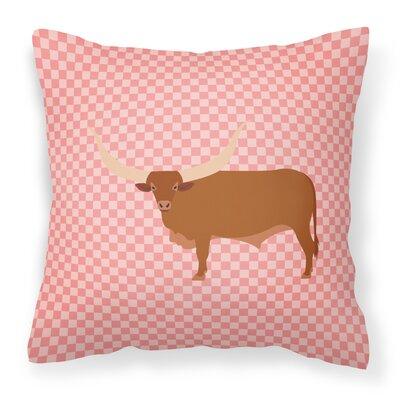 Ankole Watusu Cow Check Outdoor Throw Pillow Color: Pink