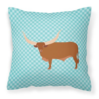 Ankole Watusu Cow Check Outdoor Throw Pillow Color: Blue