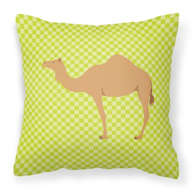 Camel Dromedary Check Outdoor Throw Pillow Color: Green