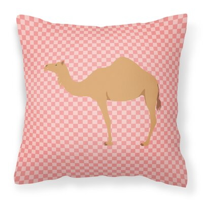 Camel Dromedary Check Outdoor Throw Pillow Color: Pink