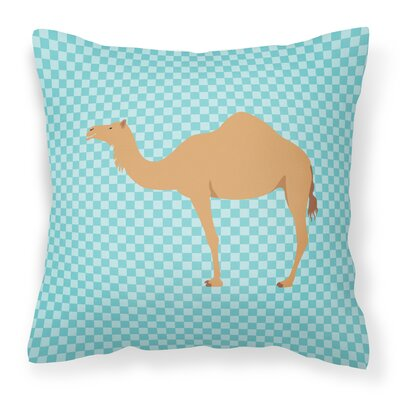 Camel Dromedary Check Outdoor Throw Pillow Color: Blue