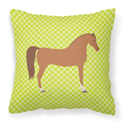 Horse Check Square Outdoor Fabric Throw Pillow Color: Green