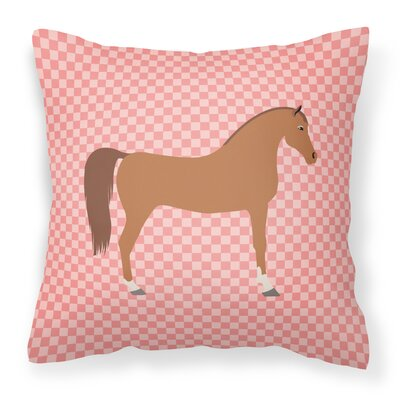 Horse Check Square Outdoor Fabric Throw Pillow Color: Pink