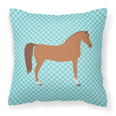 Horse Check Square Outdoor Fabric Throw Pillow Color: Blue