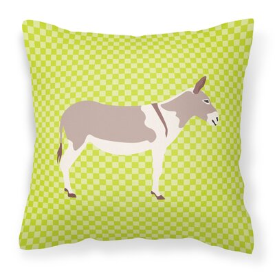 Teamster Donkey Check Outdoor Throw Pillow Color: Green