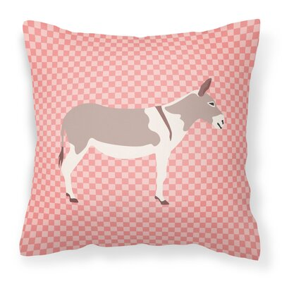 Teamster Donkey Check Outdoor Throw Pillow Color: Pink