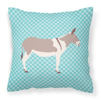Teamster Donkey Check Outdoor Throw Pillow Color: Blue