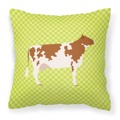 Cow Check Square Fabric Outdoor Throw Pillow Color: Green