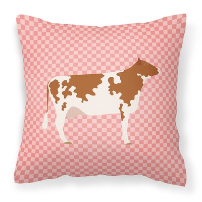 Cow Check Square Fabric Outdoor Throw Pillow Color: Pink