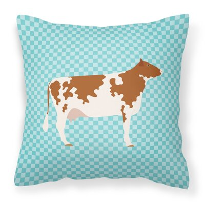 Cow Check Square Fabric Outdoor Throw Pillow Color: Blue