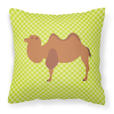 Camel Check Outdoor Throw Pillow Color: Green