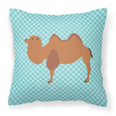 Camel Check Outdoor Throw Pillow Color: Blue