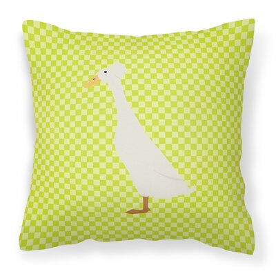 Duck Check Square Outdoor Throw Pillow Color: Green