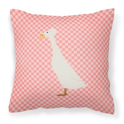 Duck Check Square Outdoor Throw Pillow Color: Pink