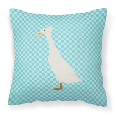 Duck Check Square Outdoor Throw Pillow Color: Blue
