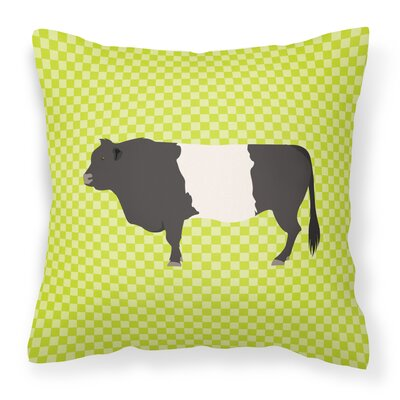 Belted Cow Check Outdoor Throw Pillow Color: Green