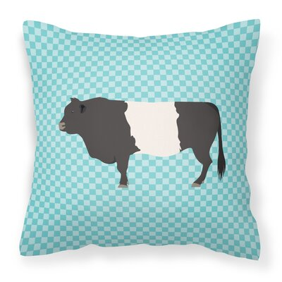 Belted Cow Check Outdoor Throw Pillow Color: Blue