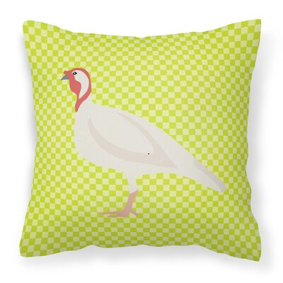 Small Turkey Hen Check Outdoor Throw Pillow Color: Green