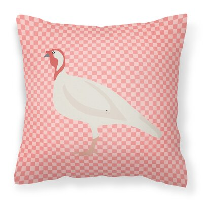 Small Turkey Hen Check Outdoor Throw Pillow Color: Pink