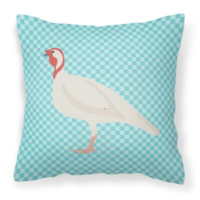 Small Turkey Hen Check Outdoor Throw Pillow Color: Blue