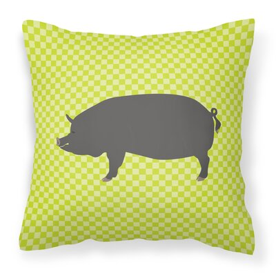 Pig Check Square Fabric Outdoor Throw Pillow Color: Green