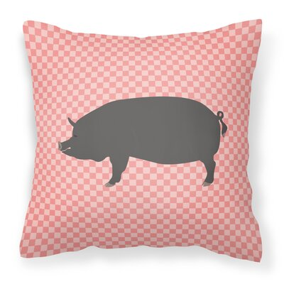 Pig Check Square Fabric Outdoor Throw Pillow Color: Pink