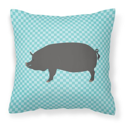 Pig Check Square Fabric Outdoor Throw Pillow Color: Blue